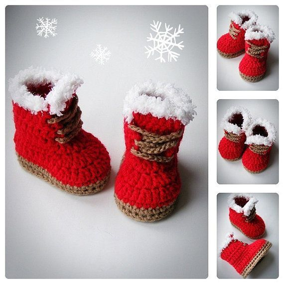 Christmas baby booties from Etsy: red crochet with white and brown accents. What an adorable idea!