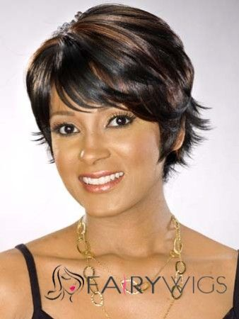 Cute Short Curly Sepia African American Capless Wigs for Women 8 Inch