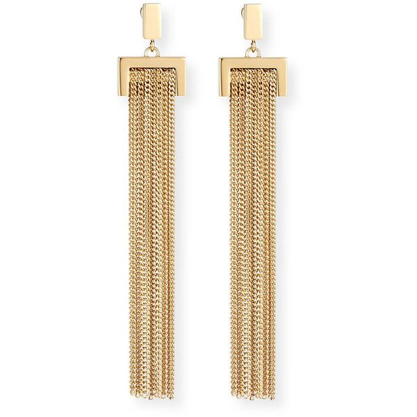 Chloe Delfine Rigid Chain Drop Earrings ($770) ❤ liked on Polyvore featuring jewelry, earrings, gold, yellow jewelry, golden jewelry, chain jewelry, drop earrings and golden earring