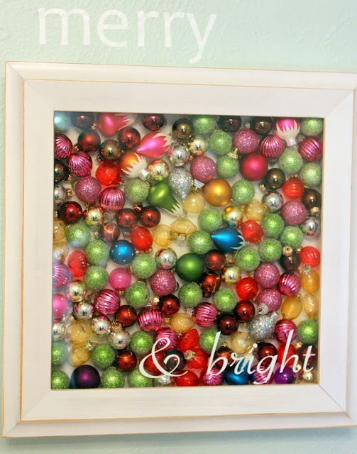 Fill a shadow box with ornaments and throw a cheery, Christmas themed vinyl on the front and you have instant holiday wall art via 52mantels.com!: Wall Art, Wall Decor, Glasses Ornaments, Shadowbox, Vintage Ornaments, Shadows Boxes, Christmas Decor, Christmas Ornaments, Holidays Wall