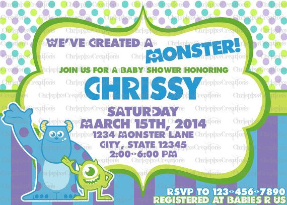 monsters inc baby shower invitation print at by