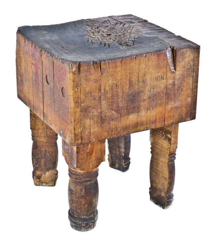 incredibly robust and heavy duty heavily worn turn of the century rock hard maple wood freestanding four-legged fulton market butcher shop table