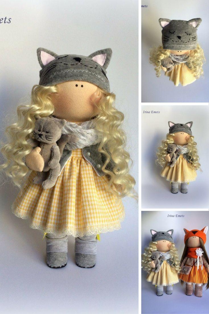 Cat doll Textile doll Catty doll Handmade doll Fabric doll yellow doll Soft doll Cloth doll Tilda doll Interior doll Art doll: https://www.etsy.com/listing/478194341/cat-doll-textile-doll-catty-doll