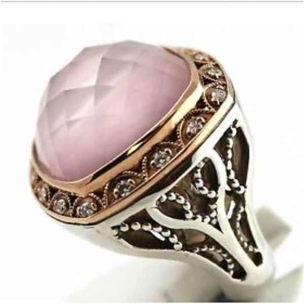 Pre-owned Tacori Blushing Rose Quartz And Mother Or Pearl Diamond Ring... ($1,075) ❤ liked on Polyvore featuring jewelry, rings, accessories, pink and rose gold, bezel set ring, pink diamond ring, pre owned diamond rings, rose quartz diamond ring and diamond jewelry