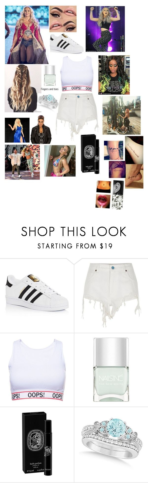 """""""Leah-Tag team with Becky!  Charlotte and Naomi vs. Lana,  Carmella,  Nattie and Tamina at MSG"""" by thefuturemrsambrose ❤ liked on Polyvore featuring adidas, River Island, WWE, Nails Inc., Diptyque and Allurez"""