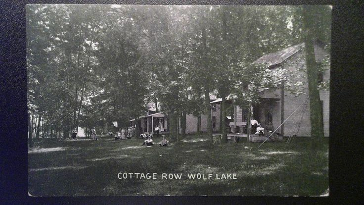 Wolf Lake Michigan MI ~ Cottage Row 1910 w/ Brooklyn MI cancel