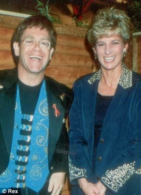 Elton John pictured with Princess Diana in 1993