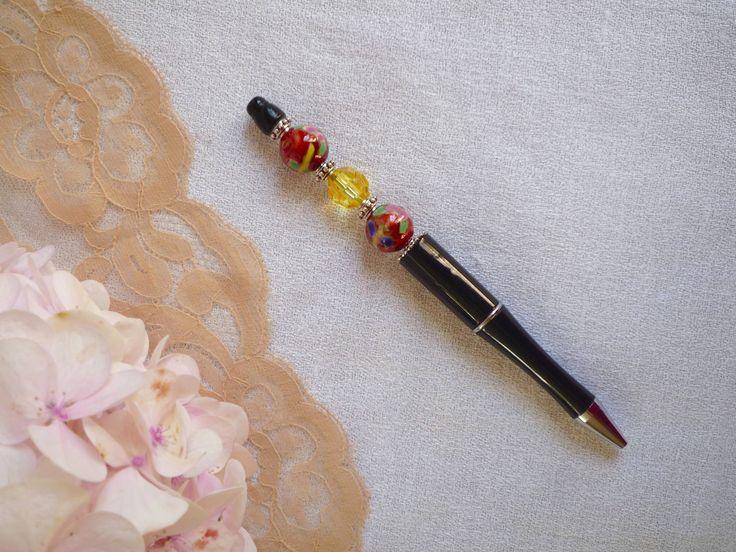 Stylo bille noir perlé rechargeable : Matériel pour écriture par bric-broc-et-vieilles-dentelles