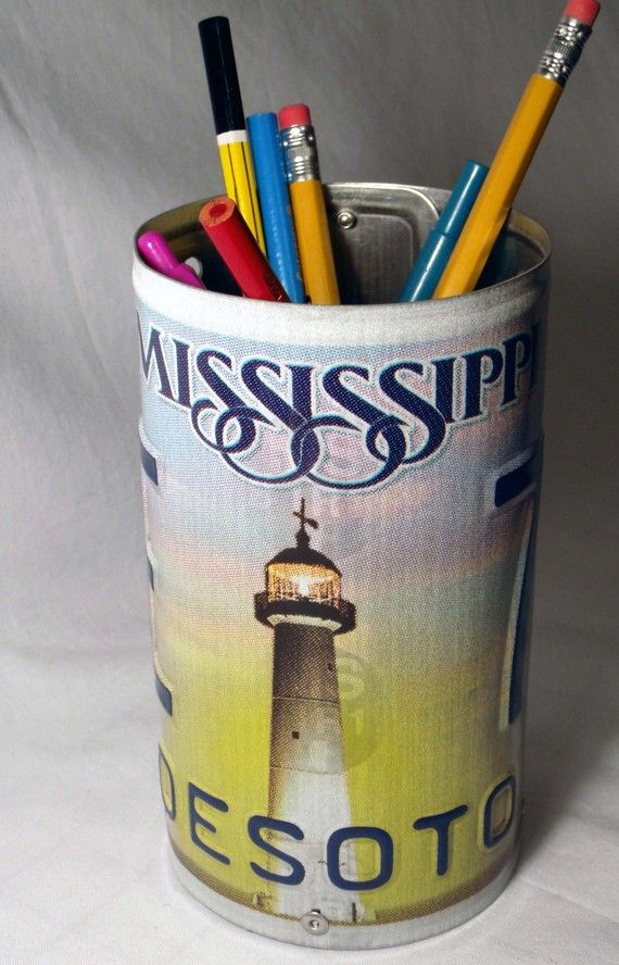 license plate pencil cup