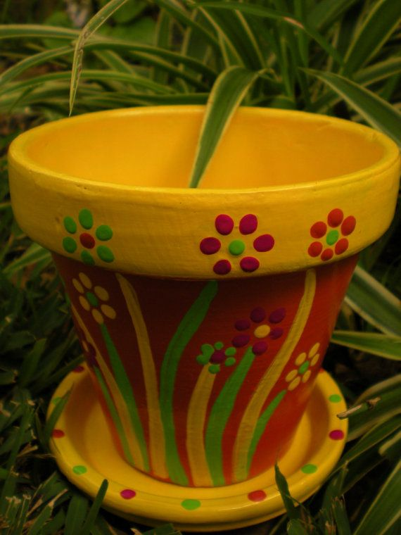 Orange and Yellow Flower Pot Hand Painted by HappyMooseGardenArt, $12.50