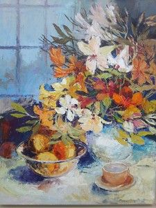 Flowers In Vase On Table - Gradwell Margaret