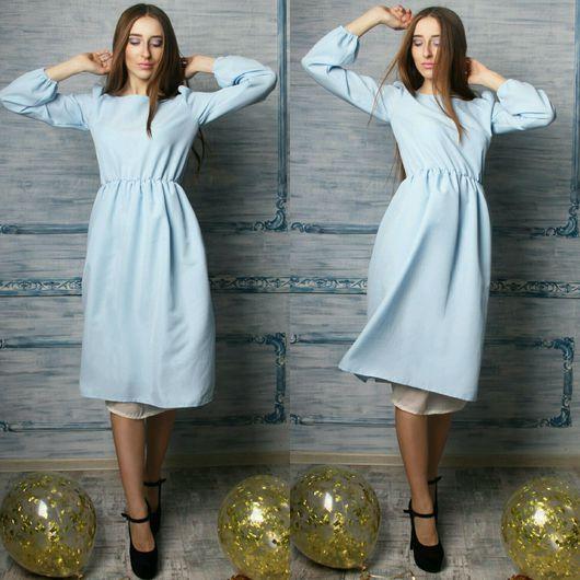 Платья ручной работы. Ярмарка Мастеров - ручная работа. Купить Платье миди Casual (голубое,  с шифоном). Handmade. Платье, голубой