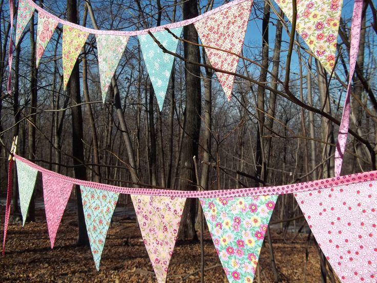 vintage banner Pink shabby chic pennant bunting Paris Birthday party cottage photo prop rose floral decoration baby shower 7 large 6 ft. $25.50, via Etsy.