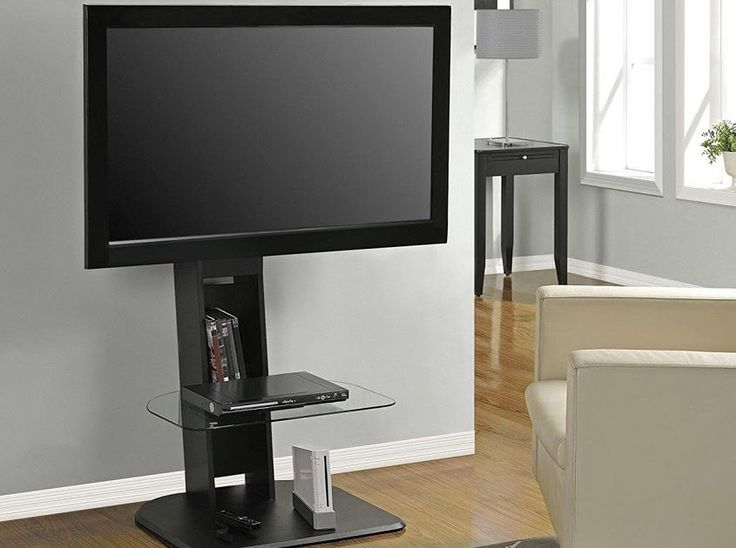 "Black TV Stand Base With Swivel Mount Fits 32-55"" TV Entertainment Center Media"
