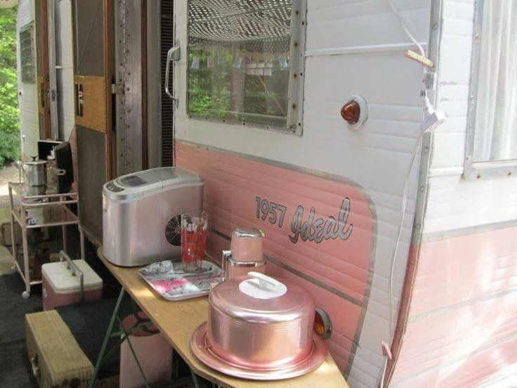Flutter Before You Vintage Trailer Rally Weekend Lovely Pink Ice Chest Pretties Displayed On Ironing Board