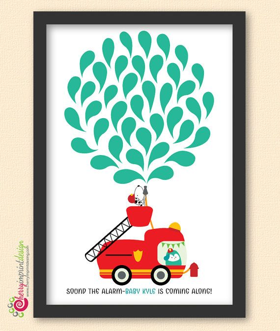 Unique Firefighter Birthday Or Baby Shower Guest Book With Dalmatian And  Owl DIY Printable (Digital File)