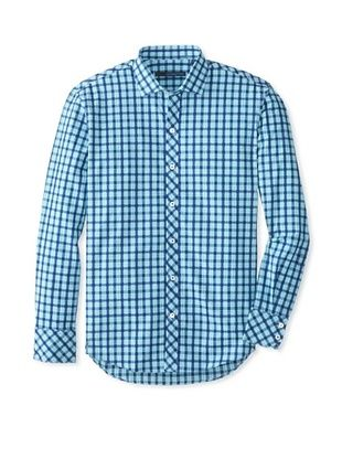 76% OFF Zachary Prell Men's Taylor Checked Long Sleeve Shirt (Auqua Combo)