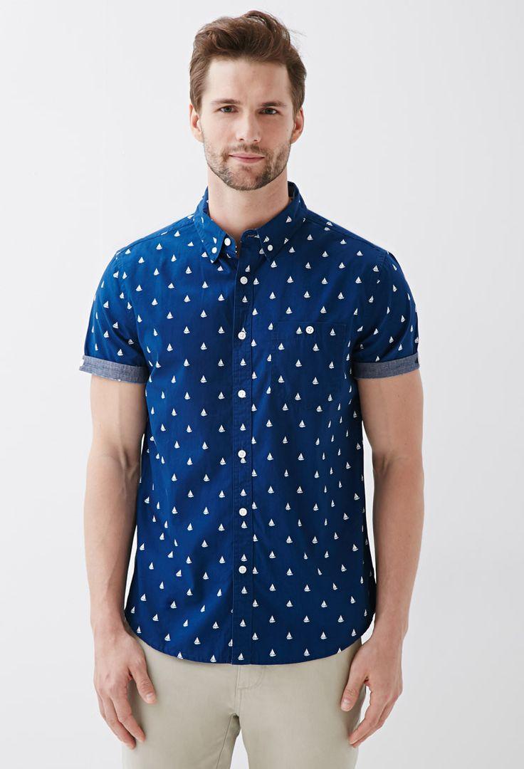 Sailboat Print Button-Down Shirt