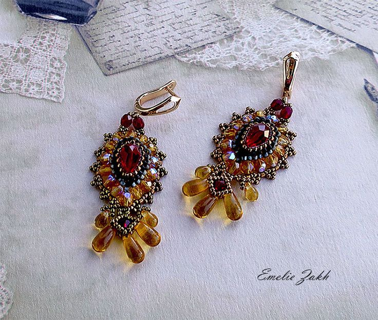 Chandelier crystal beaded earrings, Braided red-topaz beads earrings, Swarovski crystal, Beading Earrings, beaded jewelry