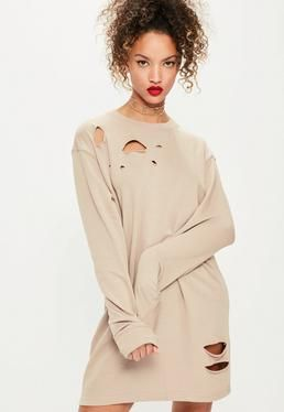 Ripped Oversized Jumper Dress Grey