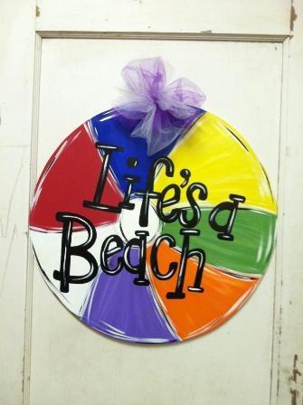 Beach Ball wooden door hanger $35