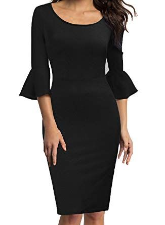 95ce8542d59 WOOSEA Womens Flounce Bell Sleeve Scoop Neck Office Work Casual Pencil Dress  at Amazon Women s Clothing store  womensfashions  womensclothesonline   fashions