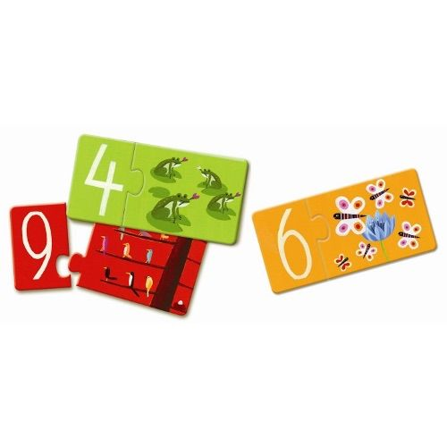 Duo Puzzle Numbers by Djeco Fabulous puzzle for little hands. Strong thick pieces presented in a strong box. There are 10 separate puzzles to complete with 2 pieces per puzzle. A fabulous way to learn puzzles and numbers. Bright and fun with lovely animals to discover.  3 years + 20 pieces in total Box dimensions 18 cm x 12 cm x 6 cm