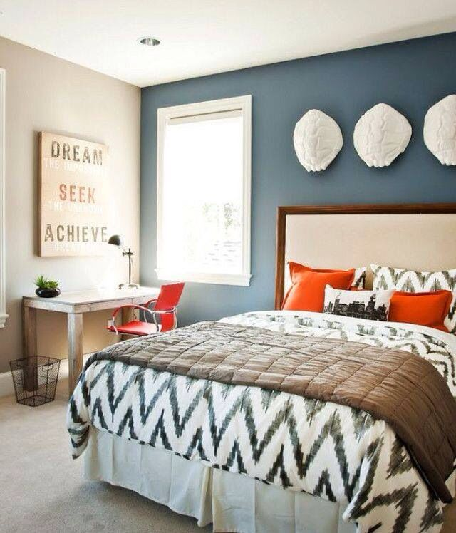 Main Thing About This One Is The Blue Accent Wall I M Torn Between A Dark Gray Or Color For Bedroom Scheme Navy C
