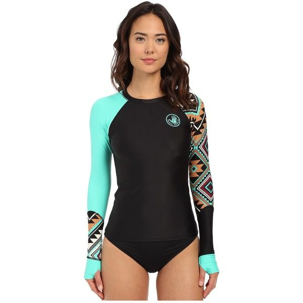 Body Glove Maka Sleek Long Sleeve Rashguard Women's Swimwear ($67) ❤ liked on Polyvore featuring swimwear, print swimwear, rash guard swimwear, body glove swimwear, rashguard swimwear and j.crew swimwear
