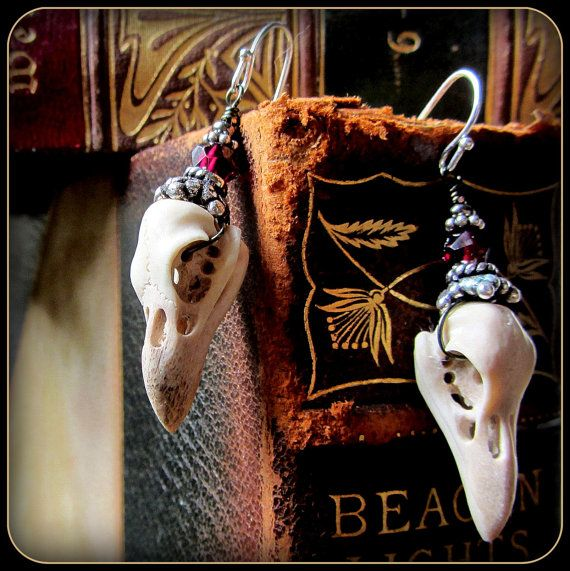 Raven Bird Skull Earrings ~ Carved from antler, stronger than real skulls ~ Halloween ~ garnet, sterling silver ~ realistic taxidermy