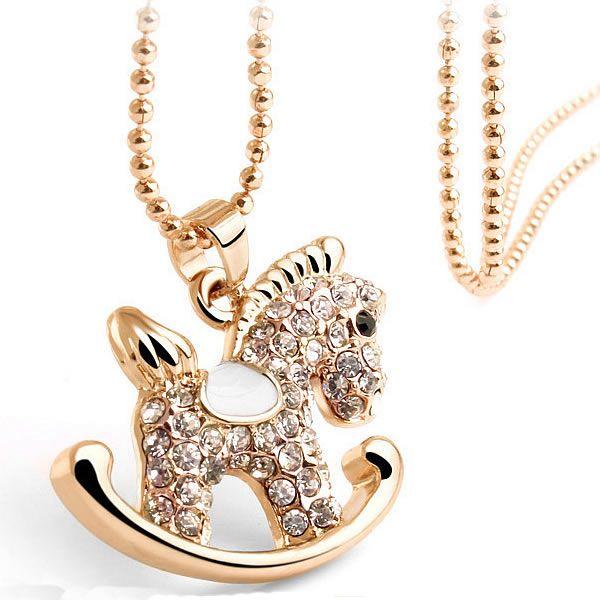 Zinklegierung Schmuck Halskette, Pferd, plattiert, Kugelkette & Emaille & mit Strass, keine, frei von Nickel, Blei & Kadmium, 24x27mm, Länge:ca. 15.7 Inch1, 20Stränge/Gruppe, verkauft von Gruppe - perlinshop.com