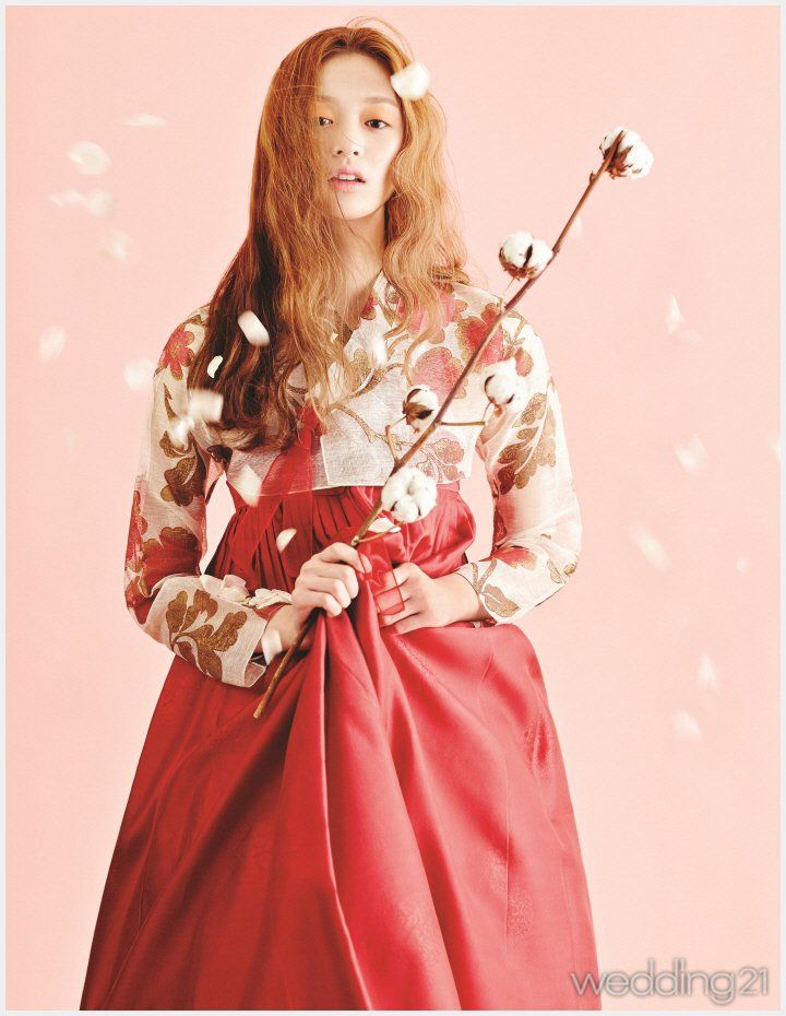 hanbok | red | flowers