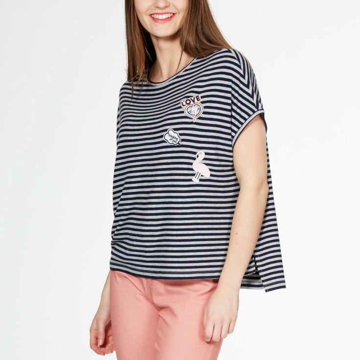 Полосатая футболка с нашивками                                         синие полосы Женщины, размеры 40-54