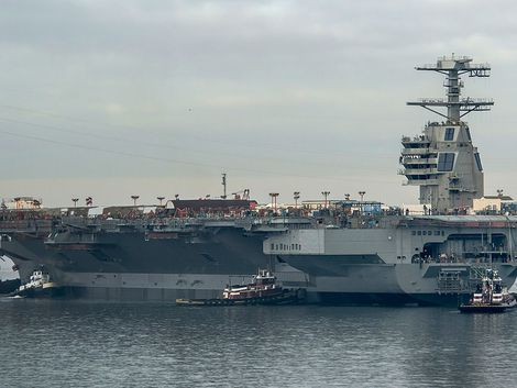 The launching of the USS Gerald R. Ford