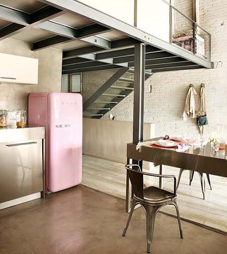 concrete floor, retro fridge