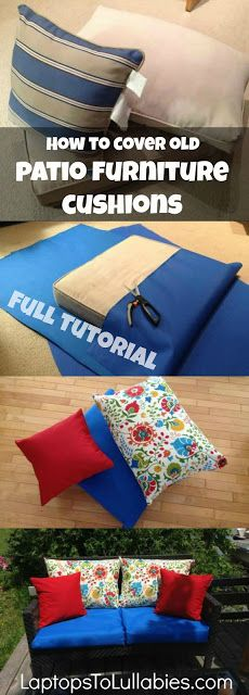 How to re-cover patio furniture cushions: Full tutorial! {LaptopsToLullabies.com}