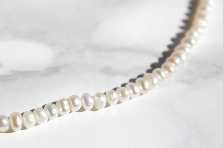 Vintage Real Pearl Necklace • White Freshwater Pearl Bridal Necklace • Wedding Necklace • Strand of Baroque Pearls • Formal Elegant Necklace by Venelle on Etsy
