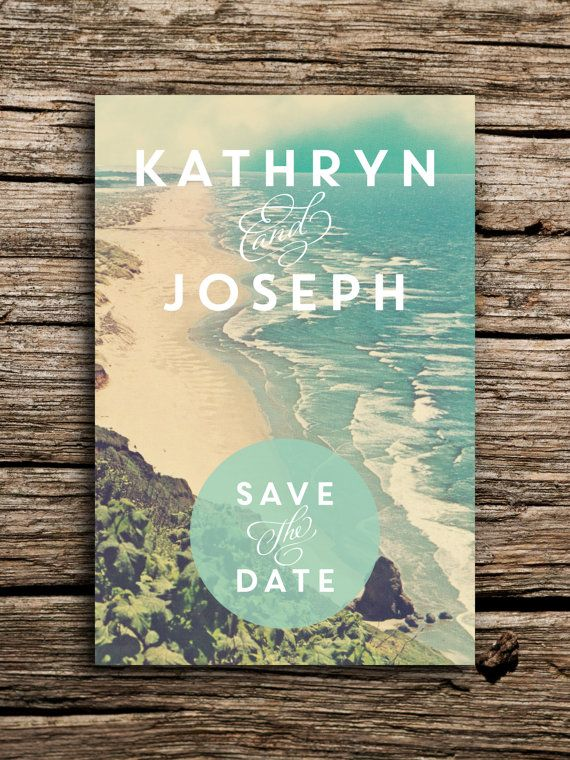 Tranquil Beach Wedding Save the Date Postcard // Destination Coast Waves Sand Modern Rustic