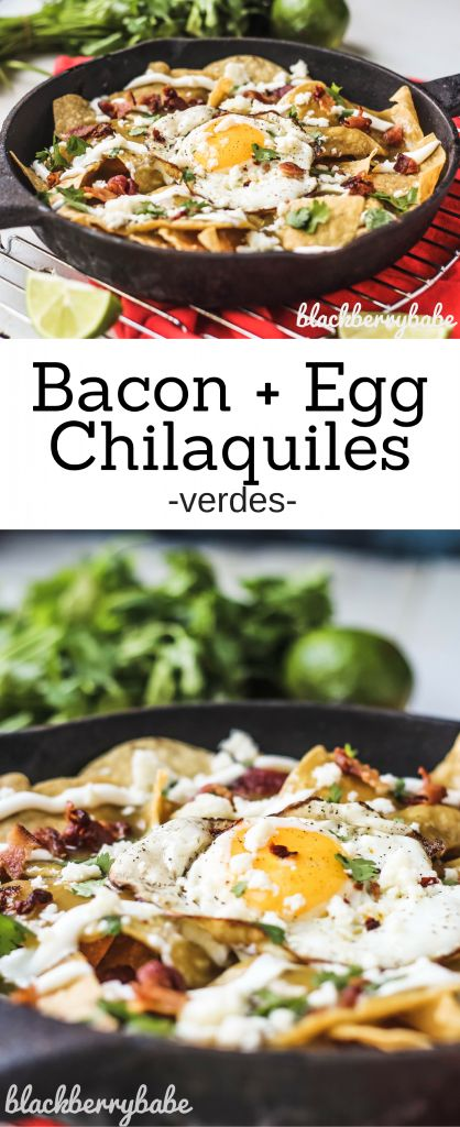 Easy Bacon and Fried Egg Chilquiles Verdes are like the breakfast nachos of your dreams! Topped with green verde sauce, queso fresco, fried eggs, and bacon.