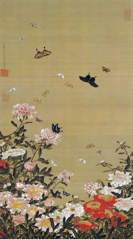 伊藤若冲 Ito Jakuchu/動植綵絵 Doshoku Sai-e(Colorful Realm of Living Beings)01-芍薬群蝶図 Shakuyaku Guncho-zu (Butterflies and Peonies)