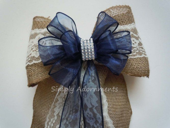 Rustic Burlap Lace Wedding Bow Navy Burlap Lace Wedding Bow Shabby Chic Lace Burlap Church Aisle Pew Bow