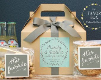Set of 6-Out of Town Guest Box / Wedding Welcome by thefavorbox