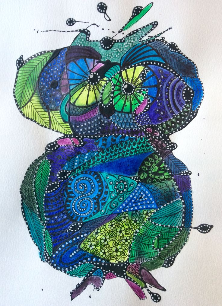 Inktence pencils, acrylic paint and pens on watercolour paper by Lise Holt