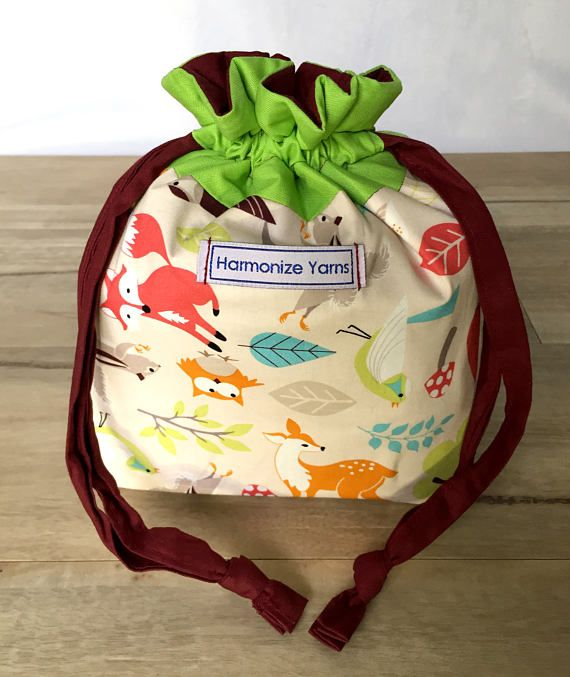 Forest Friends Knitting or Crochet Drawstring Project Bag/ WIP