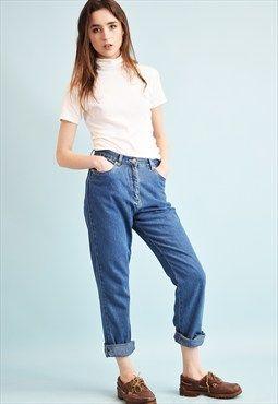 90's retro stonewash high waist denim jeans