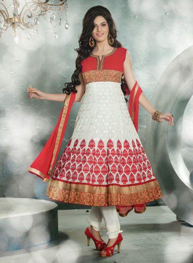 USD 164.94 Cream Faux Georgette Anarkali Salwar Suit 33955