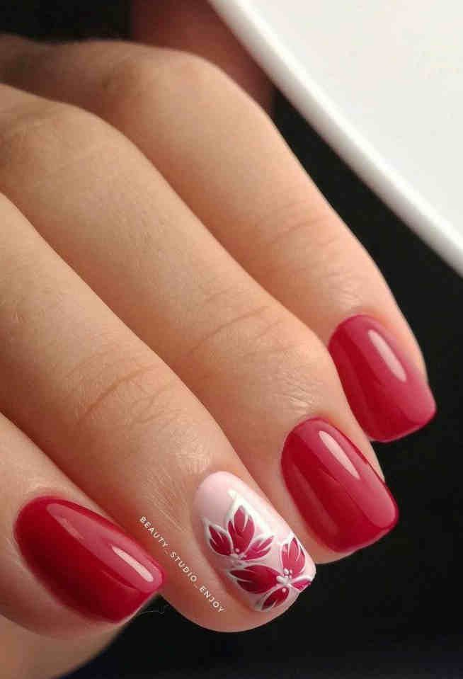 80 Cute Short Nails Design Ideas For Spring Summer Square Round Oval Nails In 2020 Floral Nails Red Nails Pink Nails