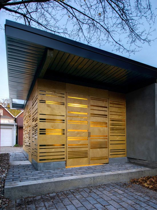Stylish Auto Garage Design with Illumination Lighting Idea : Fascinating Garden Pavilion Eaton Avenue With Air Holes