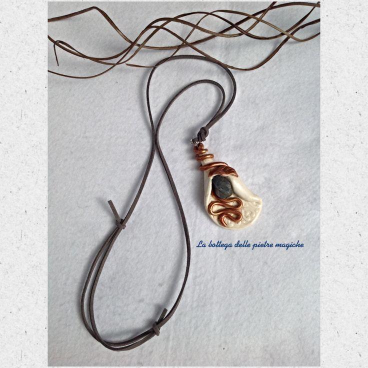 Collana in pietra dura- Collana labradorite- Talismano- Amuleto- Collana in fimo- Gioielli- Idea regalo di AnnieGioielli su Etsy