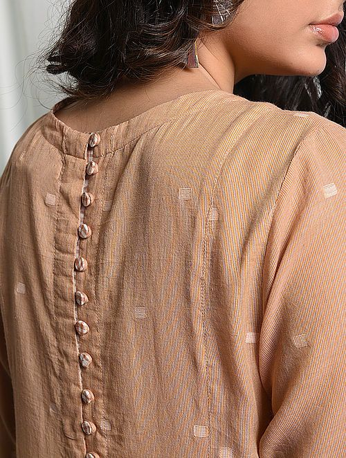 Pin By Chandru On Architecture: Peach Handloom Cotton Jamdani Dress